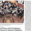 SGI and Global Zero collaborated for Peace Exhibition at Harvard University